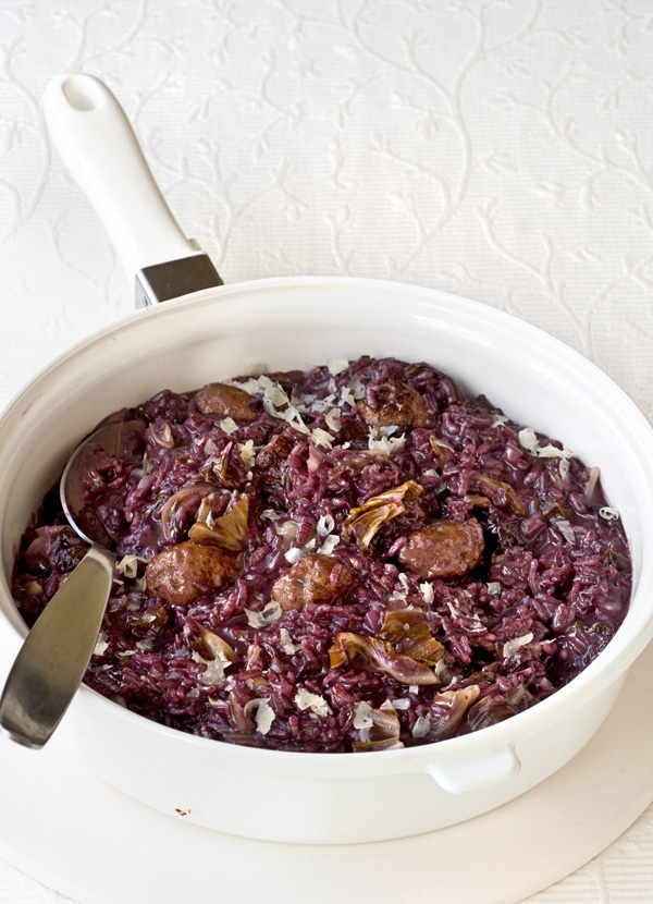 Sausage, radicchio and barolo risotto
