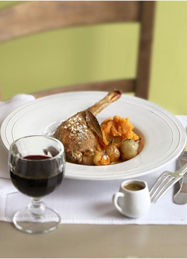 Roast Duck Leg Recipe With Sweet Potato Mash