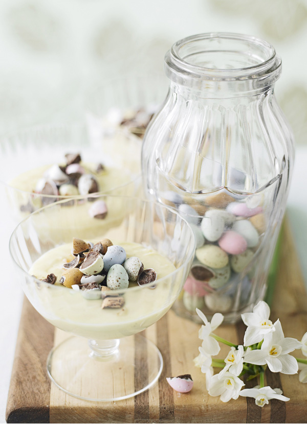 White chocolate mousse with crushed Mini Eggs