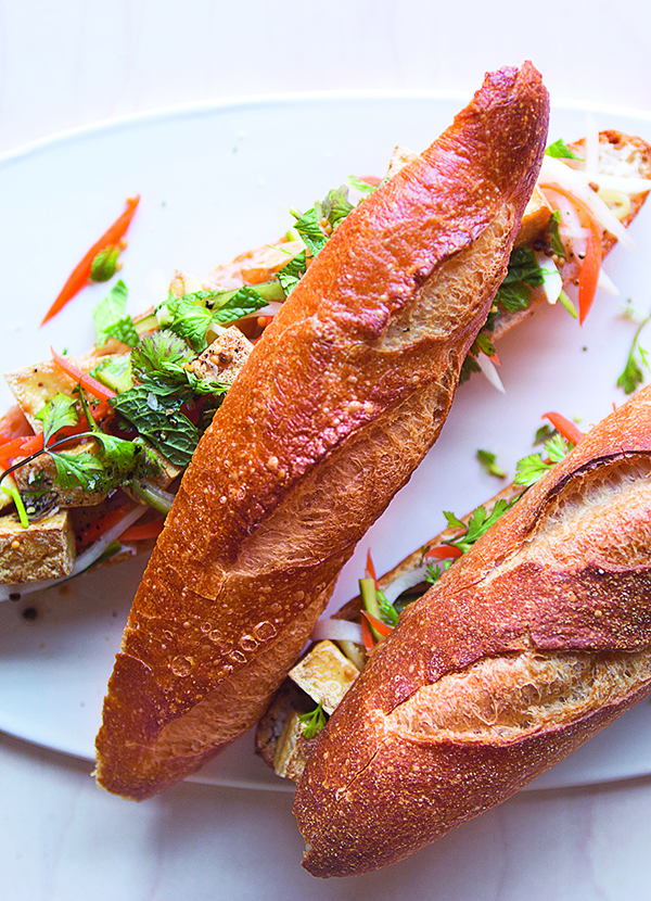 Banh mi with crispy tofu and pickled vegetables