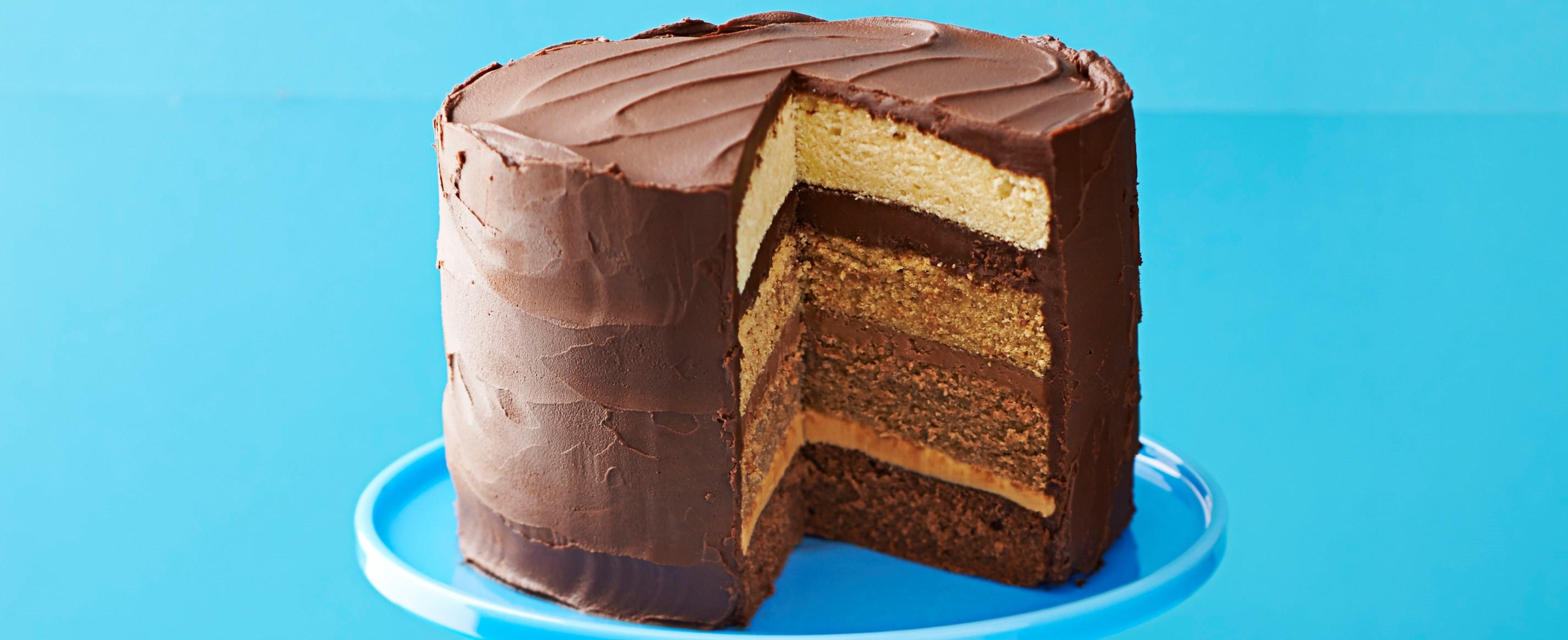 Triple chocolate caramel cake