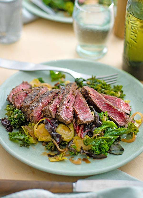 Steak and winter greens