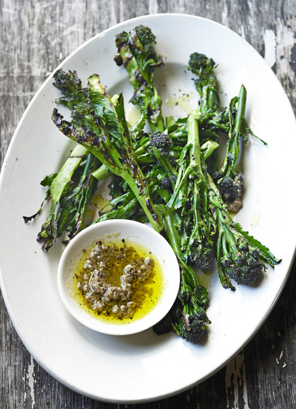 Charred purple sprouting broccoli with bagna cauda