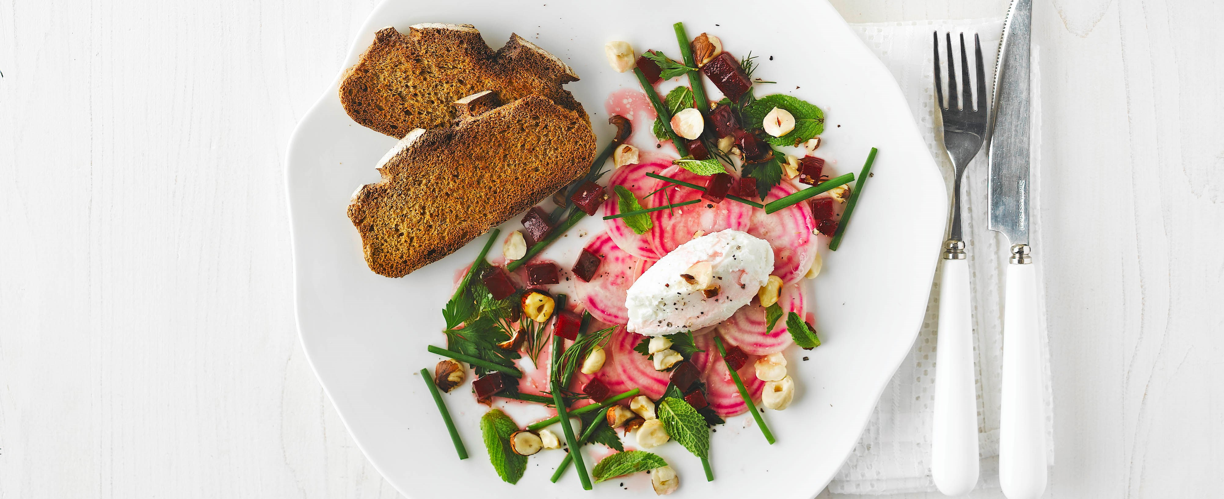 goat cheese with beetroot and herb salad