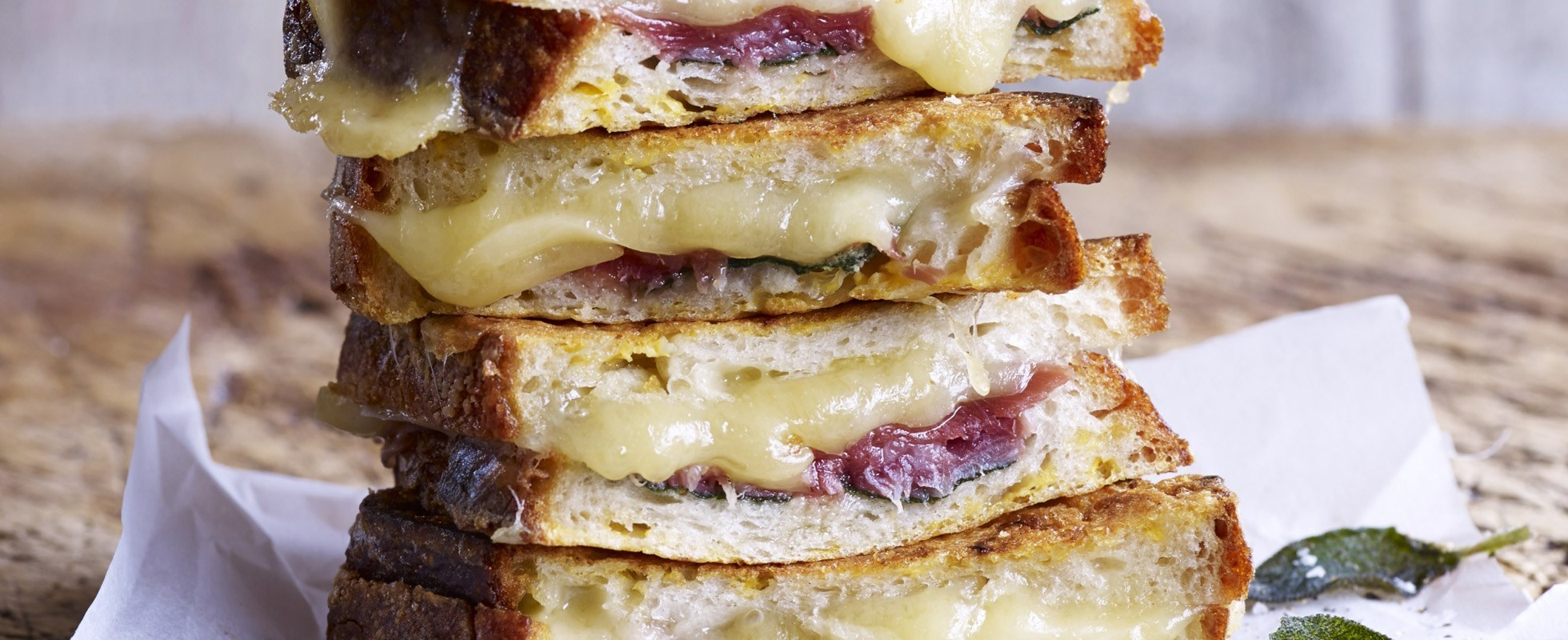 Fontina, prosciutto and sage-stuffed French toast