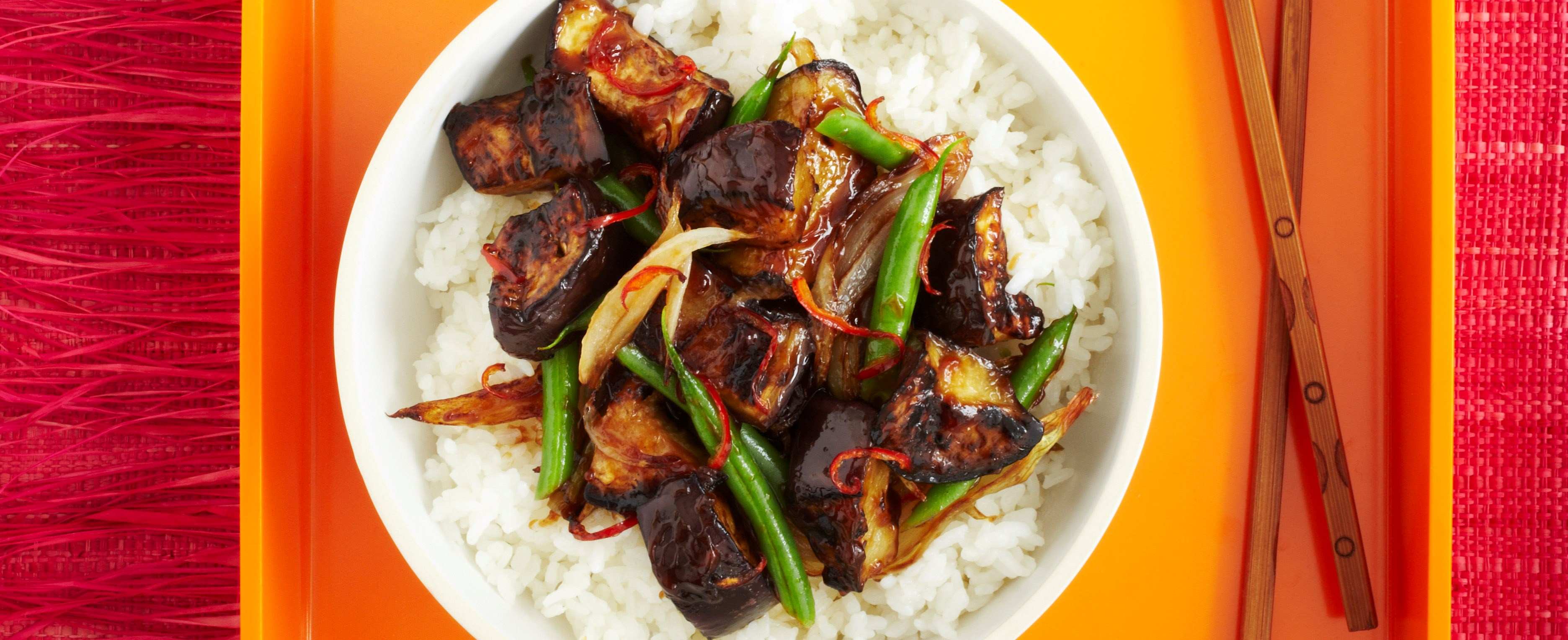 Hot and Sour Aubergine With Sticky Rice Recipe