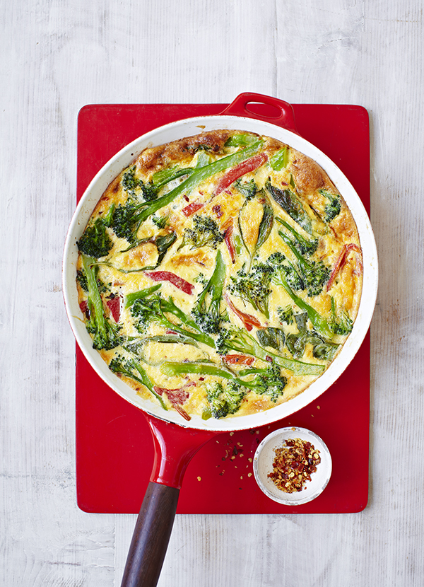 Broccoli and roasted red pepper frittata