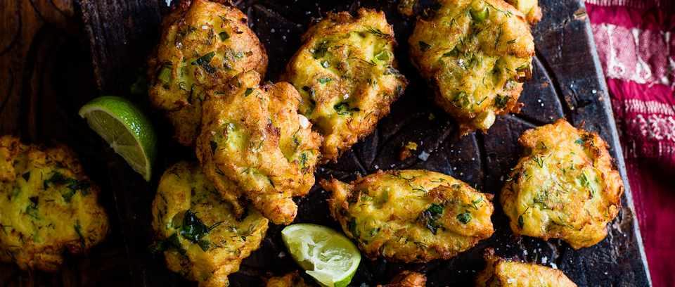 Salt cod fritters with harissa honey dip