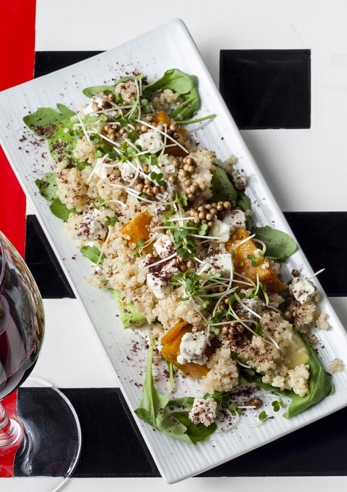 Roasted butternut and feta salad with quinoa, avocado and sumac - best quinoa recipes