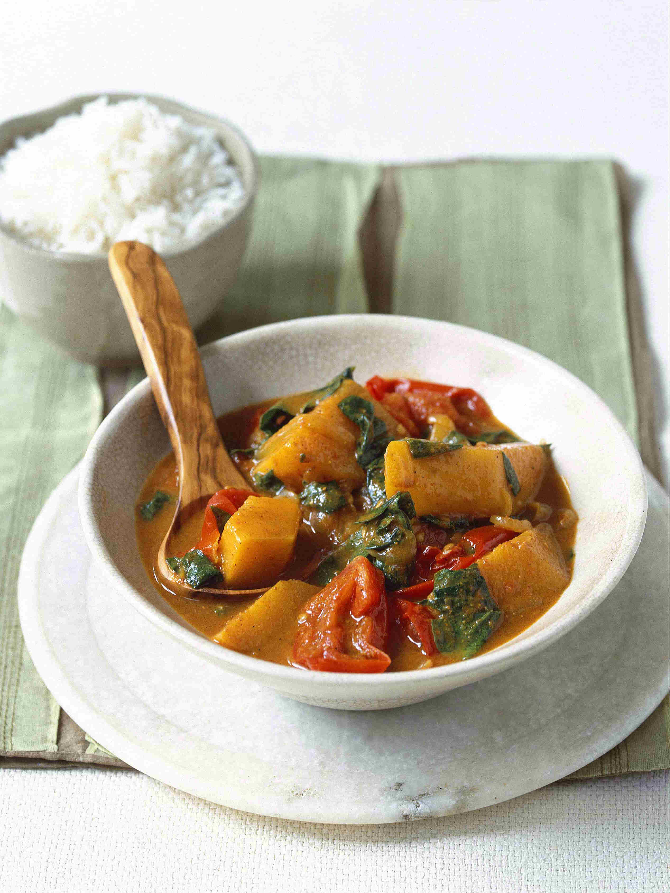 Tomato, squash and spinach curry