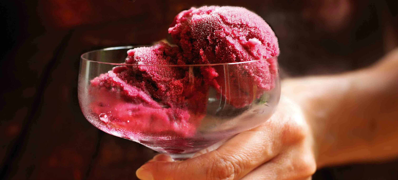 Black grape and wine sorbet