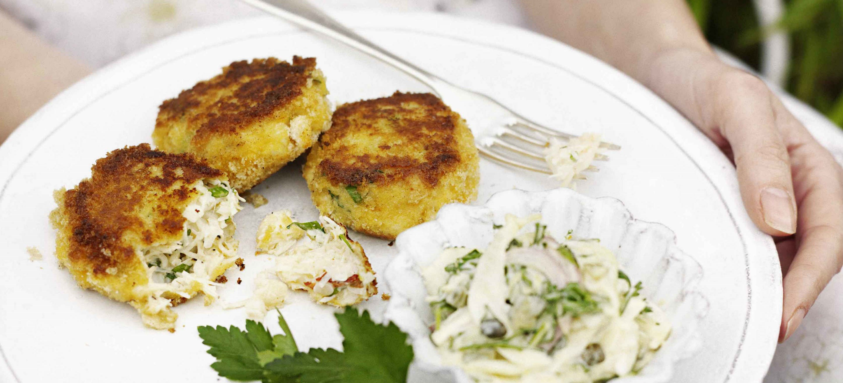 Simple crab cakes with fennel remoulade - olive magazine