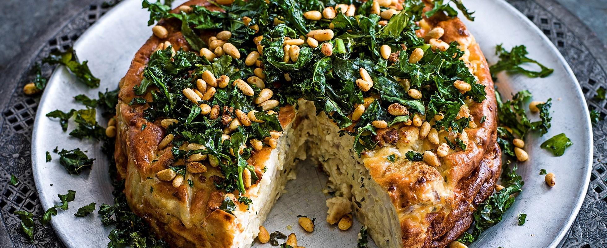Cauliflower sformato with crispy kale and caramelised pine nuts