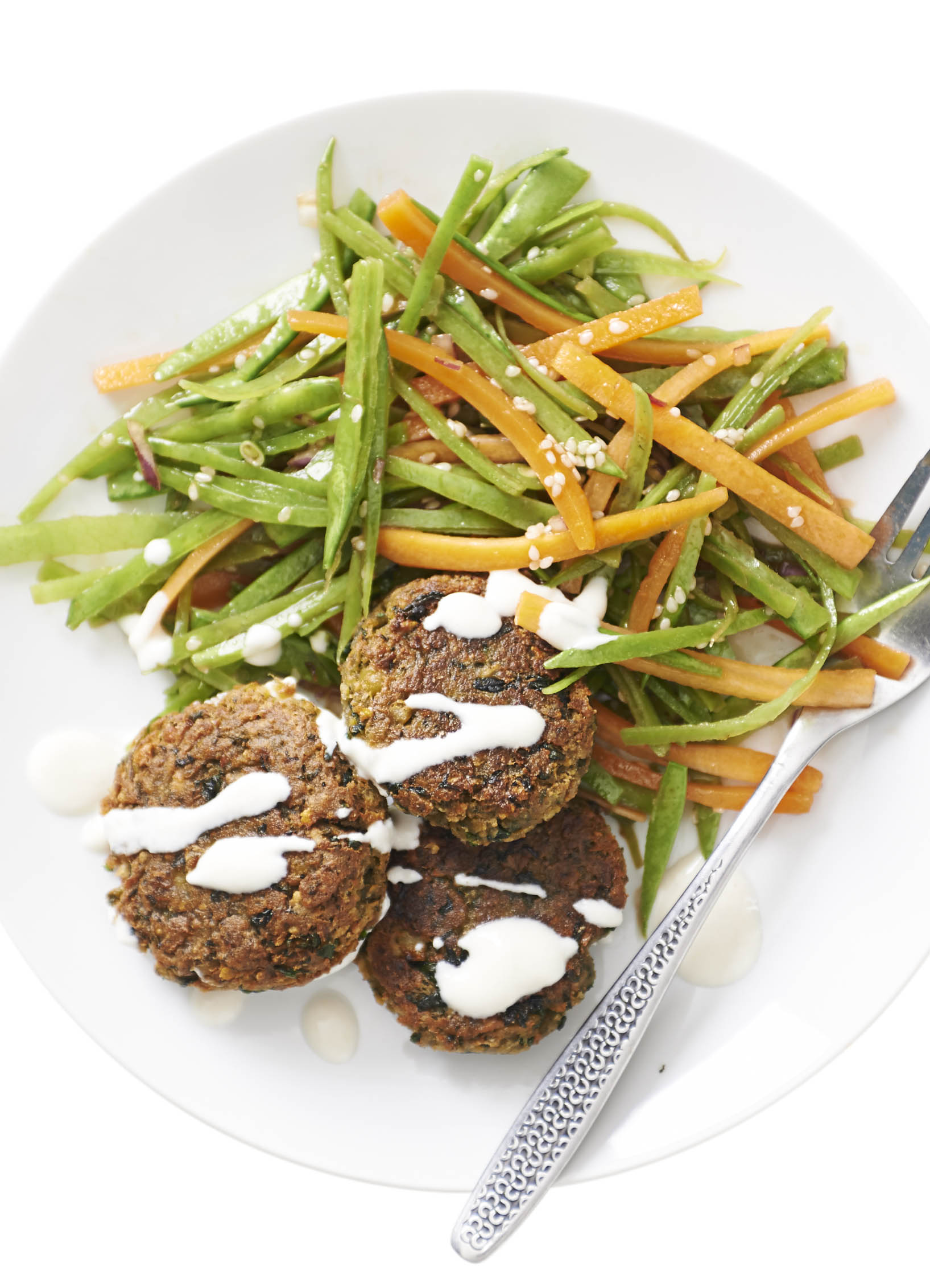 Spinach Falafel With Sesame Mangetout Salad