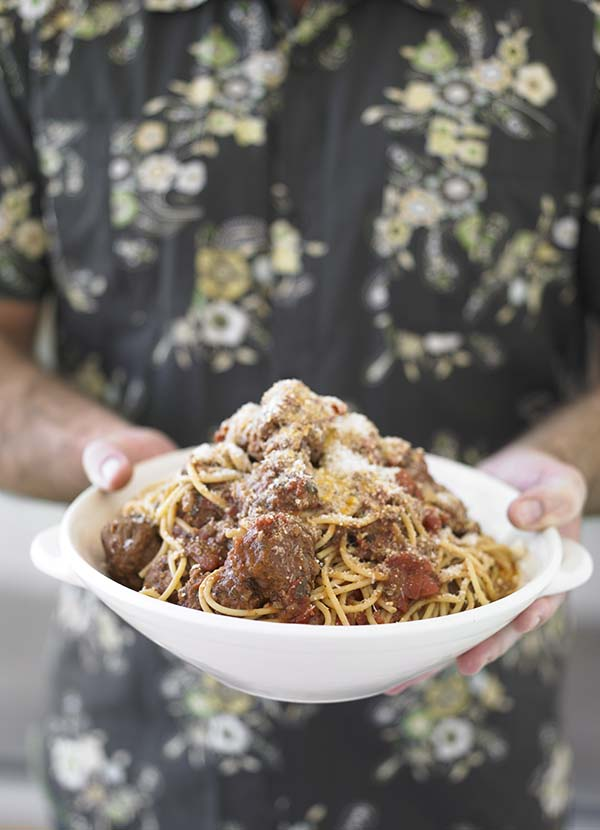 Plate of spaghetti with meatballs