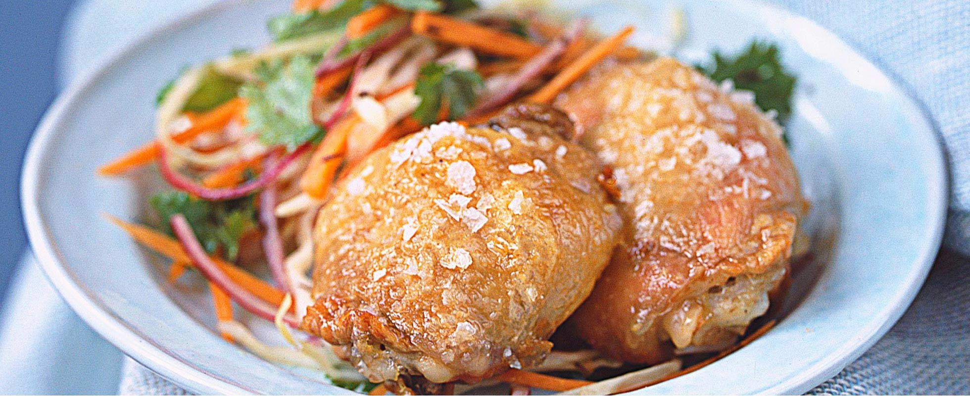 Salt-roast chicken with spiced carrot coleslaw