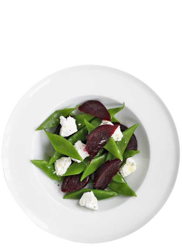Warm beetroot, bean and goat's cheese salad