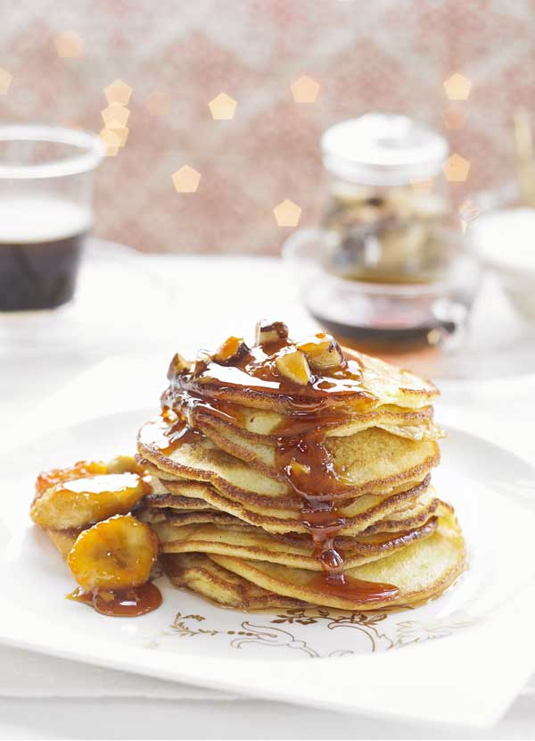 Buttermilk pancakes with sticky banana and Brazil nuts