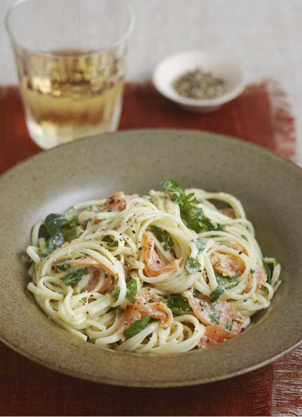 Smoked salmon, watercress and horseradish pasta