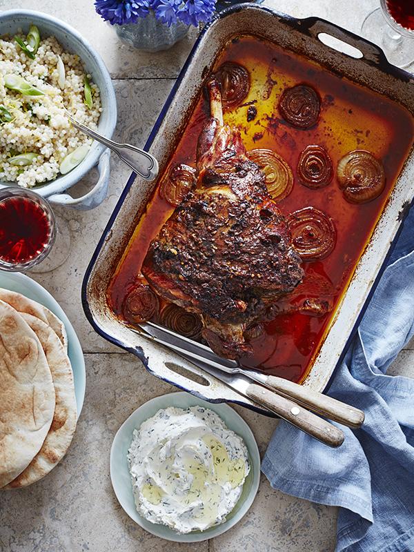 Slow-roast mechoui lamb leg with mint labneh