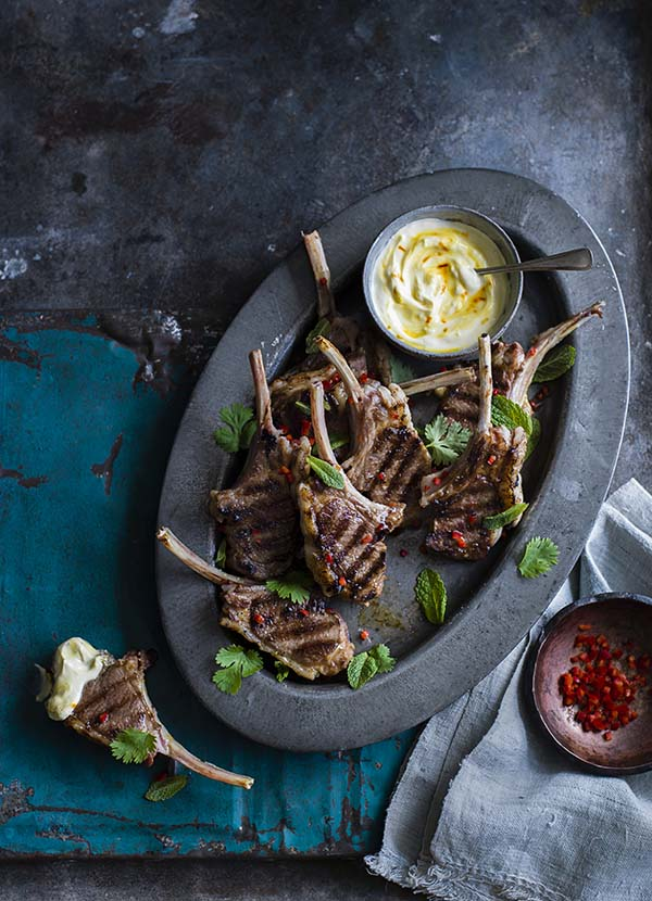 Spiced lamb chops with saffron yogurt