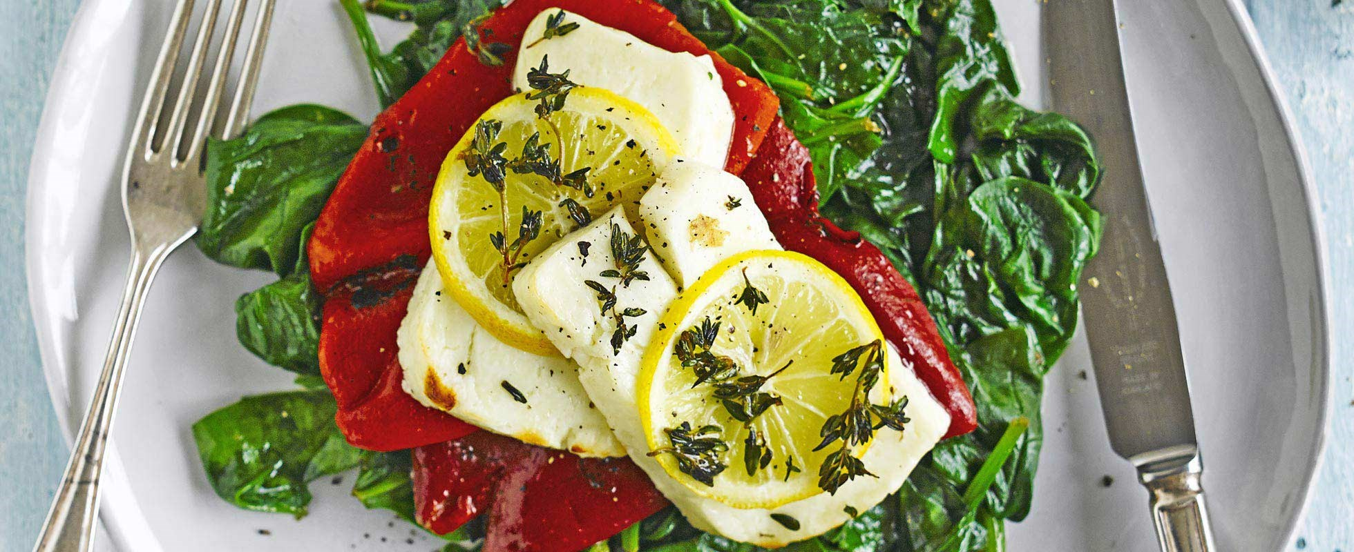 Thyme-bakedhalloumi with peppers