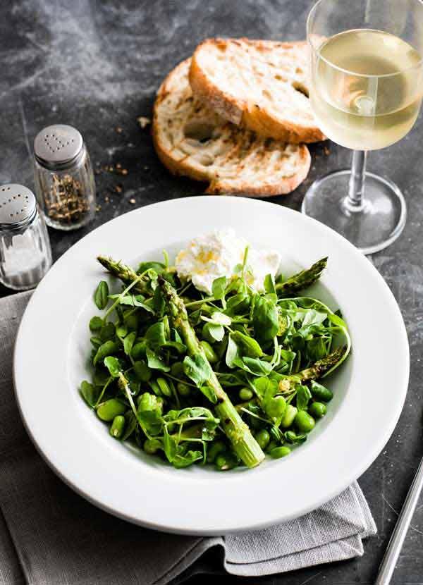 Broad bean, pea shoot, asparagus & ricotta bowl