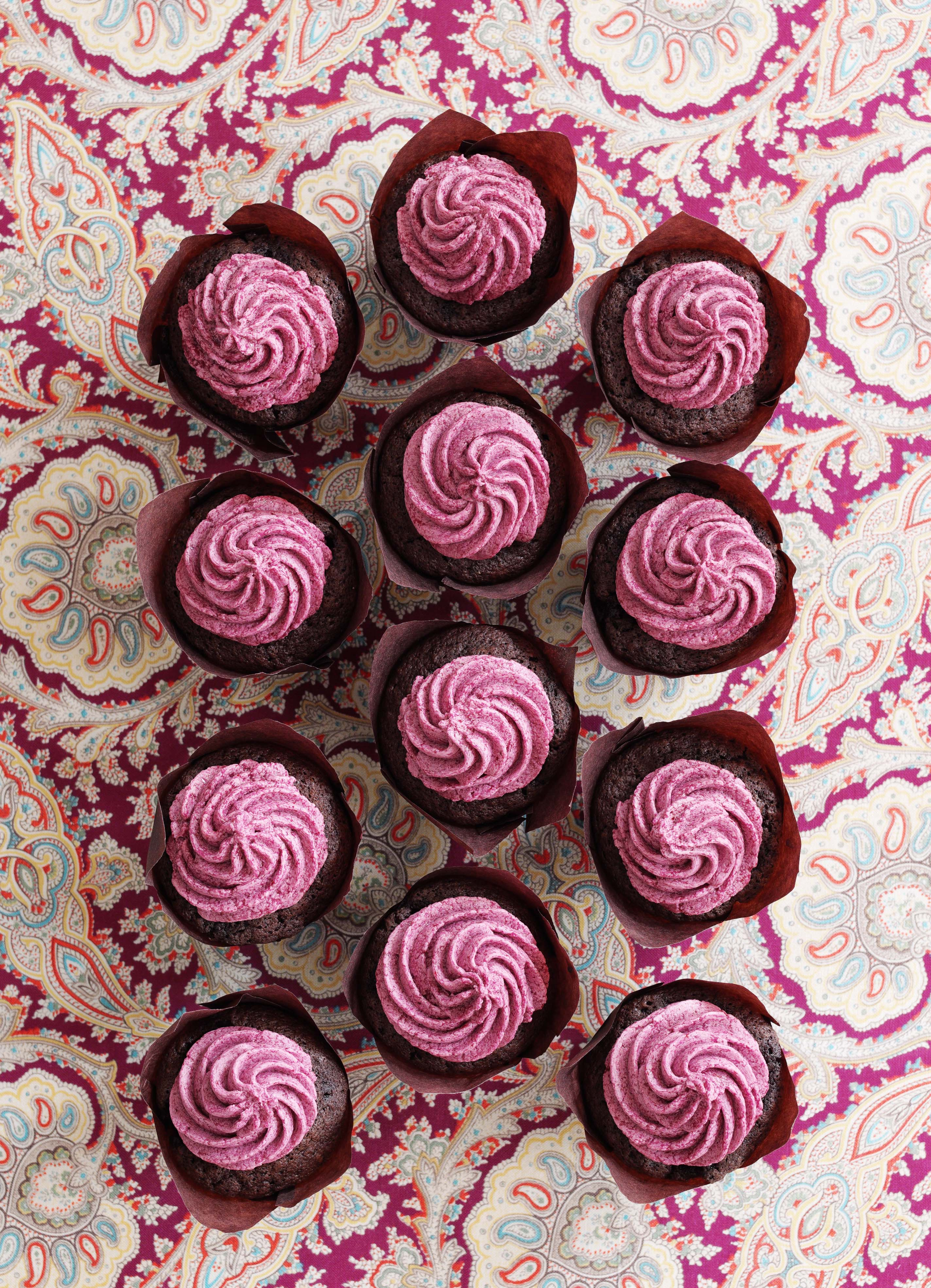 Blackberry Chocolate Cupcakes with Blackberry Buttercream