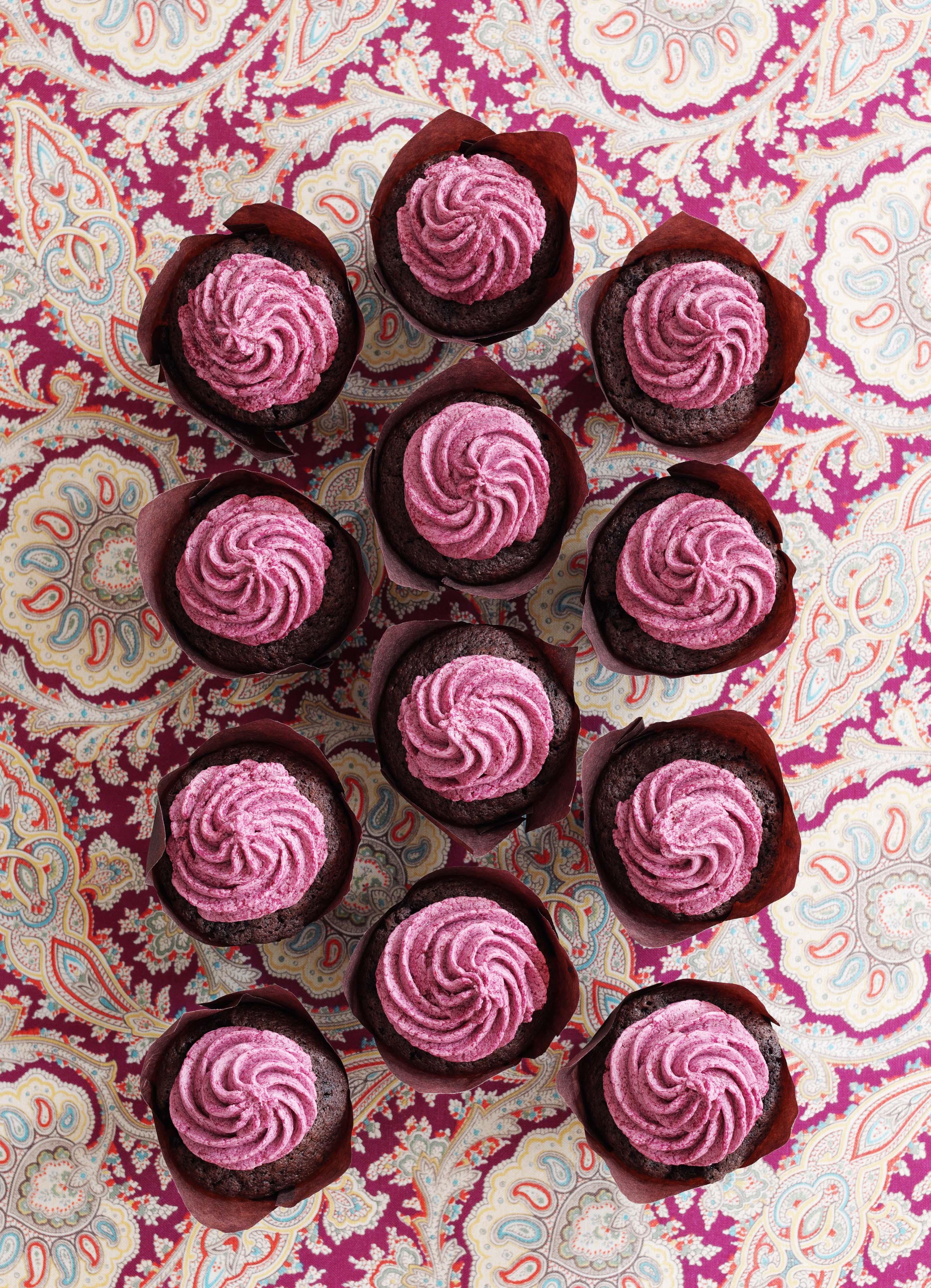 Blackberry Chocolate Cupcakes with Blackberry Buttercream