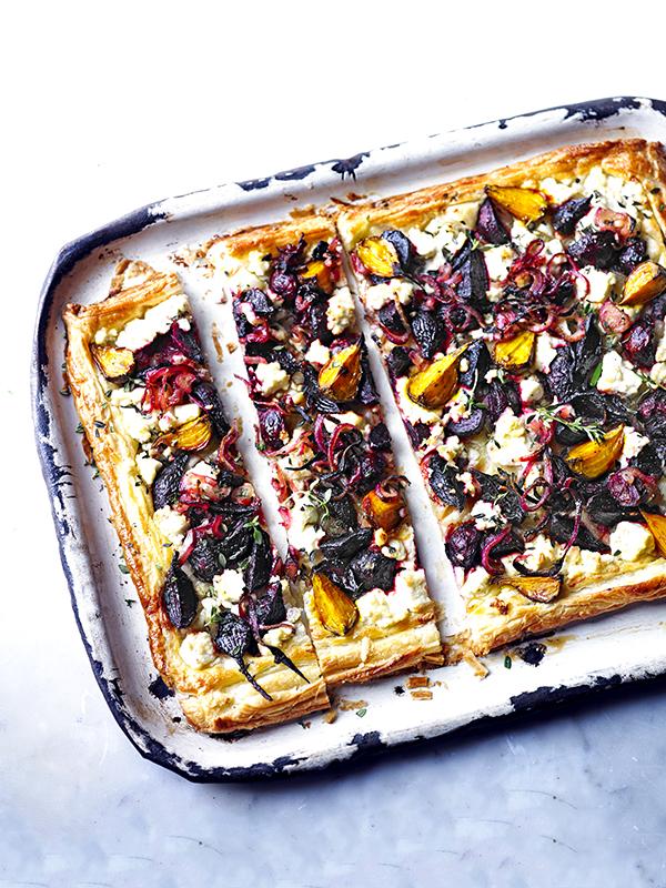 Beetroot, feta and thyme tart
