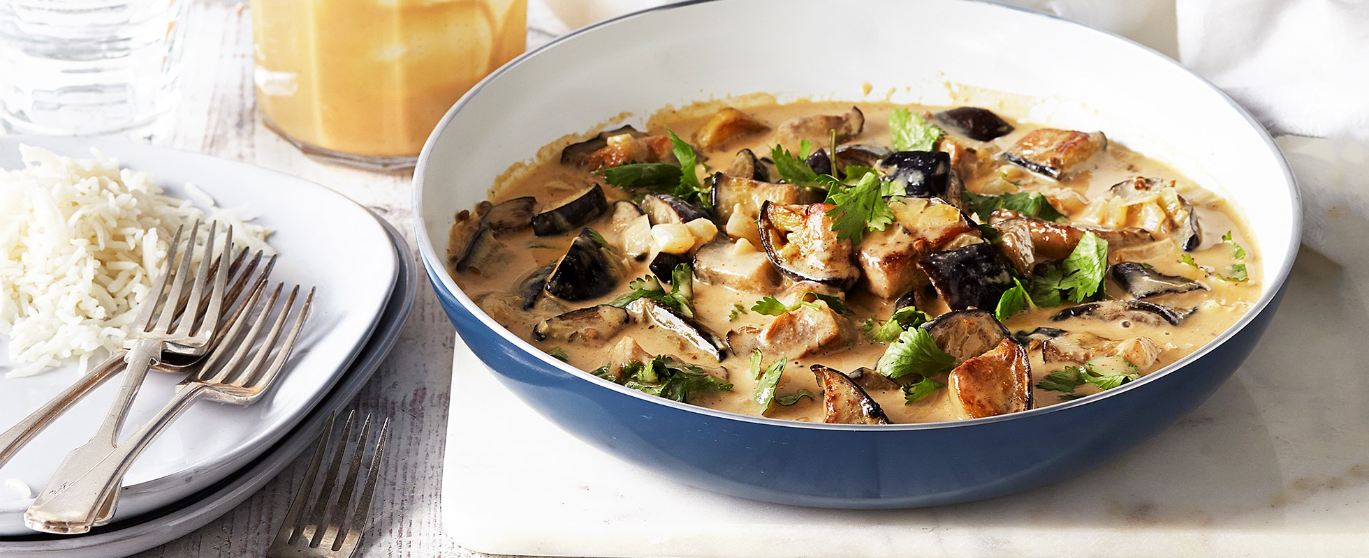 Coconut and peanut aubergine curry