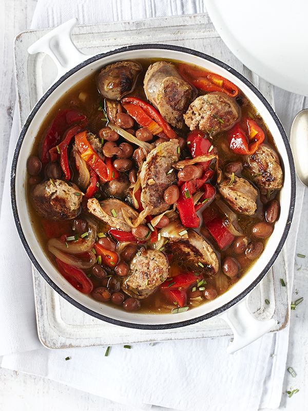 Italian Sausage Casserole With Peppers, Borlotti Beans and Rosemary