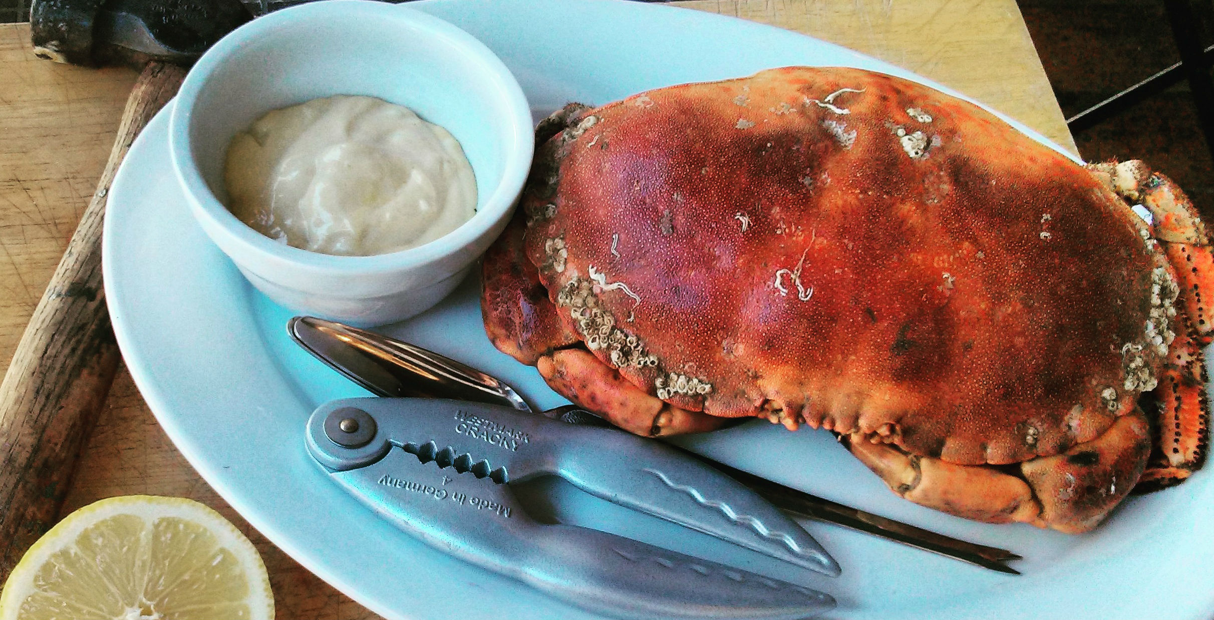 Shell-on whole crab with crab crackers at Hantverk & Found, Margate