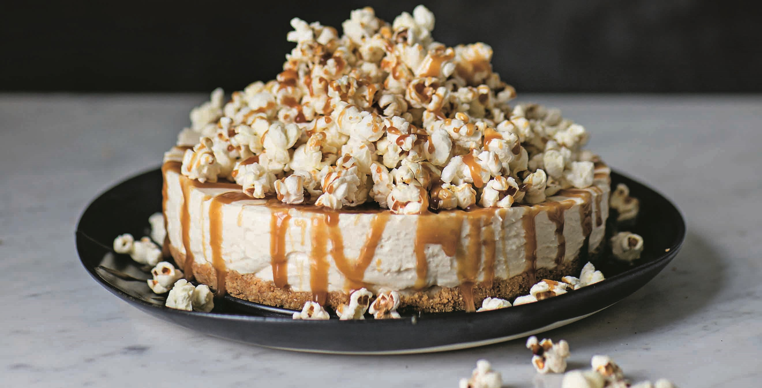 Salted butterscotch popcorn cheesecake