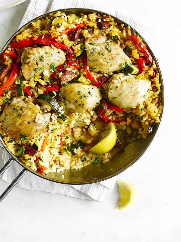 One-pot Spanish rice with chicken and chorizo