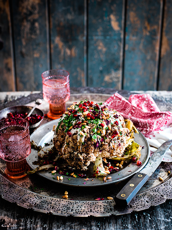 Cauliflower shawarma, pomegranate, tahini and pine nuts
