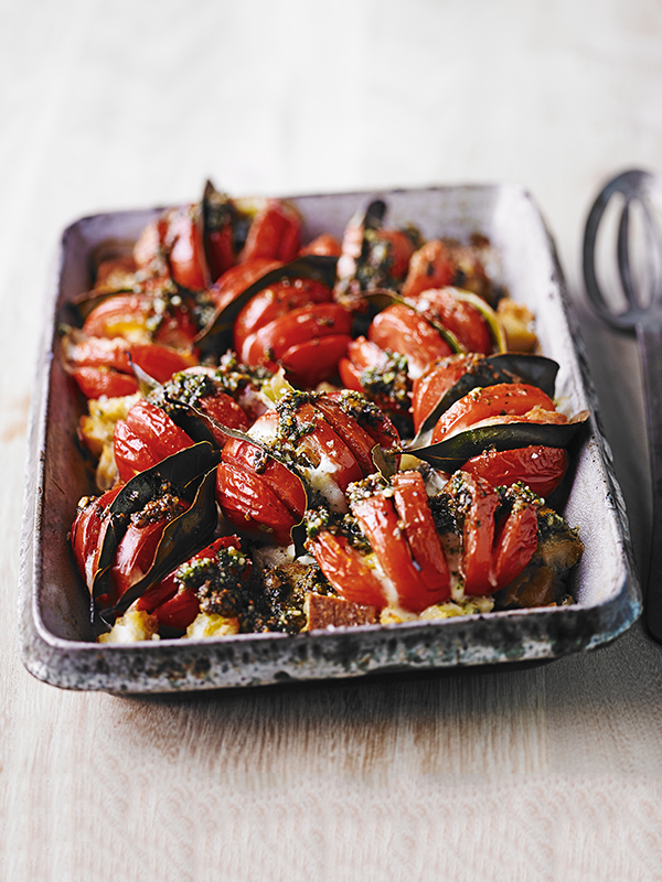 Baked hasselback tomatoes