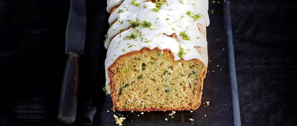Avocado, courgette and lime drizzle cake