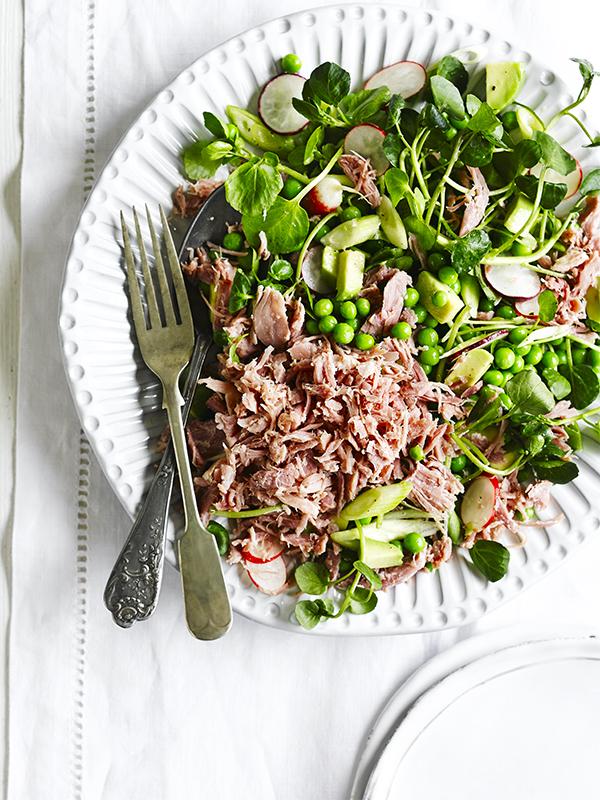 Ham hock, pea and spring onion salad