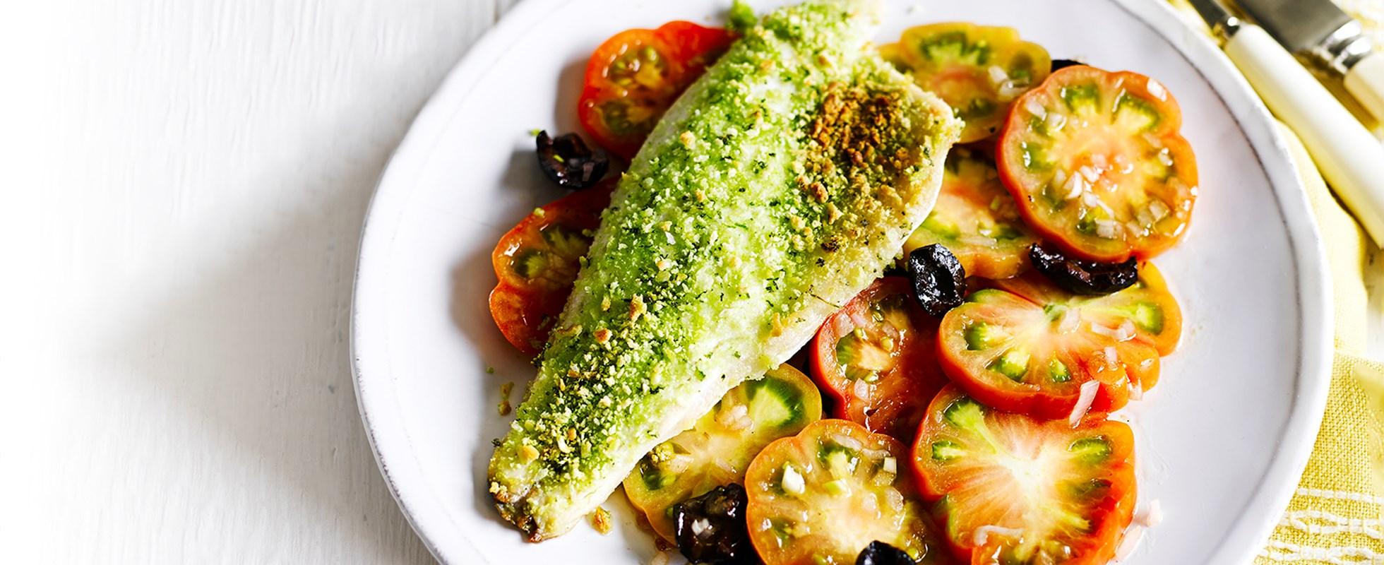 Basil panko-crusted sea bass with tomato salad