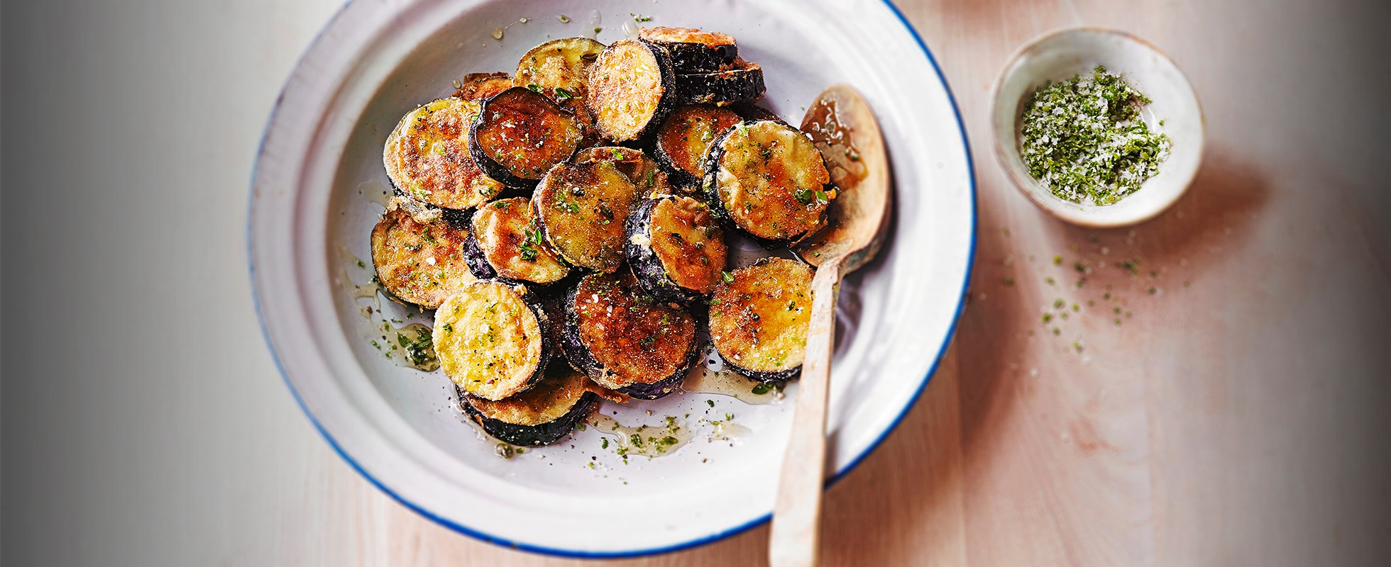 Aubergine slices with thyme and honey vinaigrette