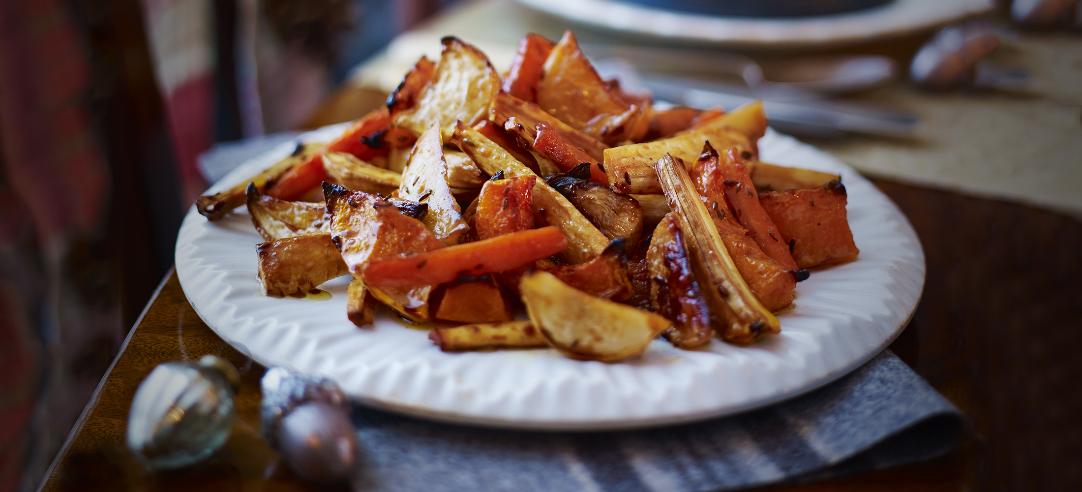 Roast roots with pomegranate molasses