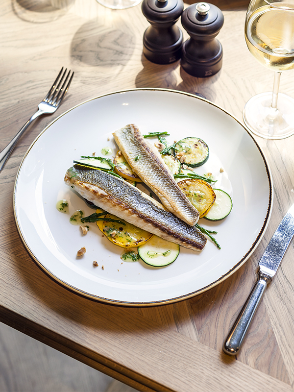 Sea bass recipes - Sea Bass Fillet With Grilled Courgette, Lemon and Hazelnut