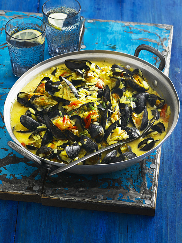 Saffron mussels with orzo & tomatoes recipe - olive magazine