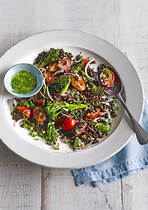 Roast broccoli with lentils and preserved lemon