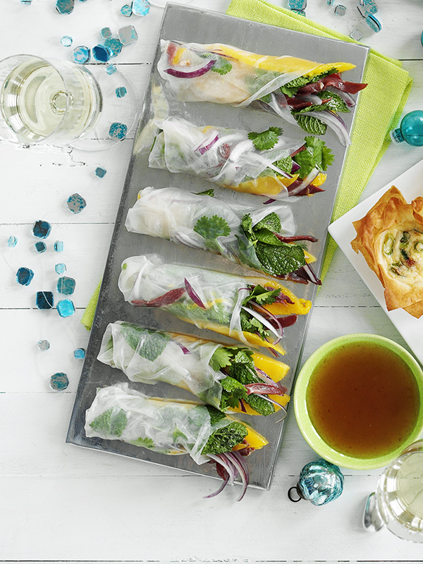Duck and mango rice paper rolls