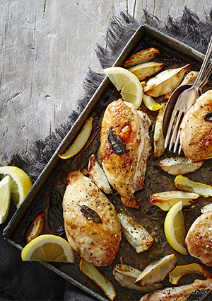 Roast Chicken and Jerusalem Artichokes With Lemon and Sage Butter