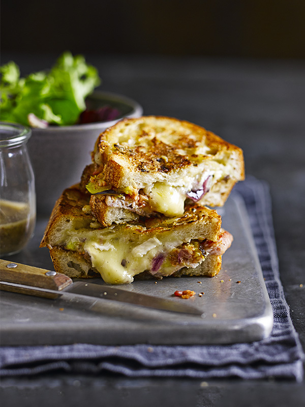 Posh cheese, bacon and fig toasties