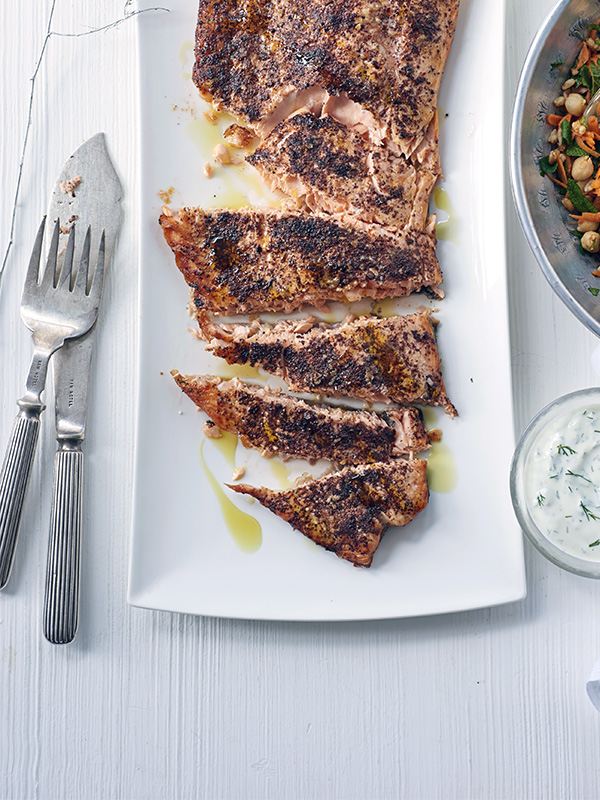 Sumac and olive oil-roasted salmon with spiced carrot salad recipe