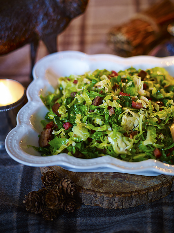 Crisp greens with shallot, pancetta and chestnut butter